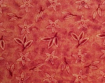 Red Floral Fabric, By the Yard, Floral Fabric, Cotton Fabric, Quilting Treasures by Cranstone, Red Fabric, Sewing Quilt Fabric