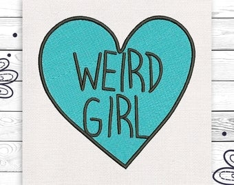 Weird girl Tumblr Discount 10% Digital machine embroidery design 4 sizes INSTANT DOWNLOAD EE5061