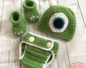 Disney Monsters Inc Inspired Mike Wazowski Infant Newborn Baby Outfit Beanie Hat Booties Shoes Diaper Cover Crochet Photography Photo Prop