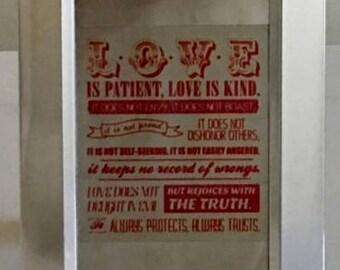 LOVE Bible Text on Aluminum Flashing