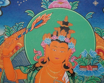 Manjushri Thangka Painting on Canvas Wall Hanging