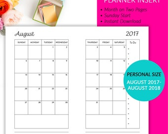 Personal Planner Insert - Month On 2 Pages Calendar Sunday Start Aug17-Aug18 Printable