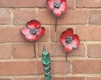 Cuffys metal poppies handmade metal flowers garden decoration