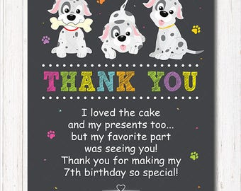 Puppies Thank you Gard, Puppy Thank you Note, Puppies Birthday, Puppies Party, Chalkboard, printable
