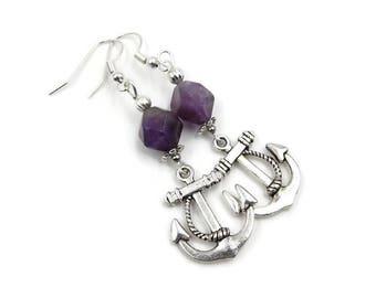 Anchor Drop Earrings | Amethyst Silver Plated Dangle Earrings | Purple Nautical Jewelry