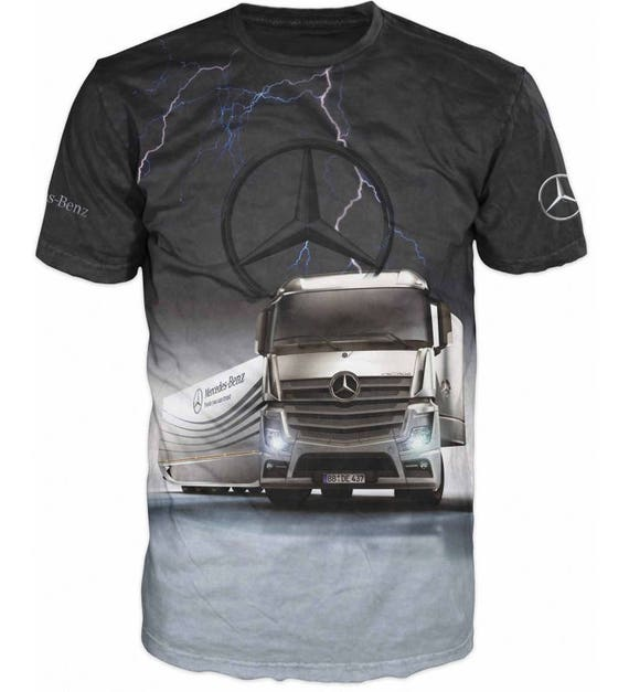cool 3d mercedes benz actros truck logo t shirt truck driver. Black Bedroom Furniture Sets. Home Design Ideas