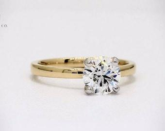 18K Yellow Gold & Platinum Solitaire Diamond Engagement Ring Wedding Ring Bridal Ring