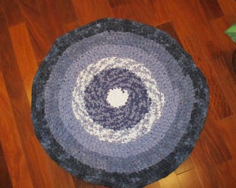 Picnic at Midnight Rag Rug - Navy/Grey/White