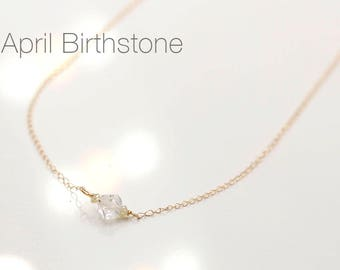 Herkimer Diamond and Dainty Yellow Diamond Necklace 14k Solid Gold - April birthstone - Delicate necklace - Dainty necklace