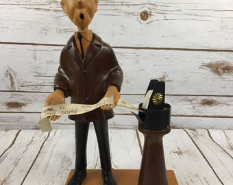 Vintage Romer Carved Wooden Stock Broker Figure Market Watch Ticker Tape A7