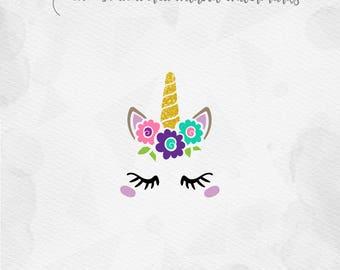 Unicorn SVG Unicorn Face SVG Unicorn Head SVG with flowers Unicorn horn Birthday - Cricut Silhouette - pdf png svg - girls birthday