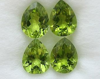 4 Pcs Natural Green Peridot Pear Shape 9x7 mm Loose Gemstone