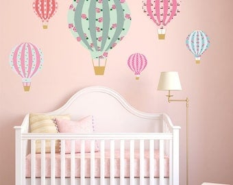 HOT AIR BALLOONS Vintage Floral Wall Art Sticker Kit decal mural graphic cute nursery