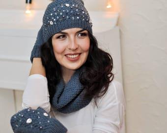 Gift ideas for her Beanie hat Fur pom pom hat Womens hat Knit beanie Knit hat Winter hat Gift for women Beanie for girls Gift for sister