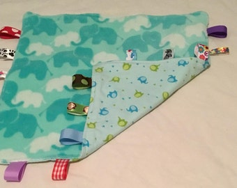 Baby Blanket with tags - Aqua and Aqua Elephants