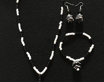Necklace, bracelet and earrings set  ~ handcrafted