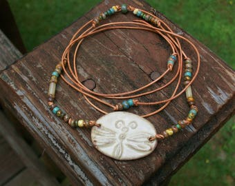 Rustic Earthy Ceramic Dragonfly Beaded Choker Necklace