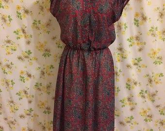 Vintage 1970s Paisley Dress