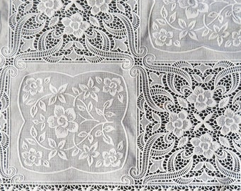 """Victorian Lace Flower Patchwork Vinyl Scalloped Fabric White DIY wide 48"""" width by the yard <3"""