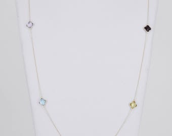 18k 9mm Multi Color Semi Precious Stone Necklace
