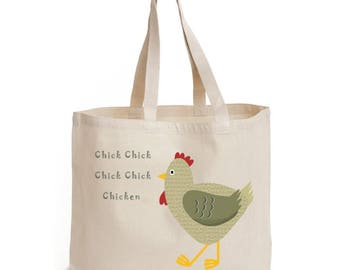 Chicken Tote Bag, Ethically Produced Reusable Shopper Bag, Cotton Tote, Shopping Bag, Eco Tote Bag