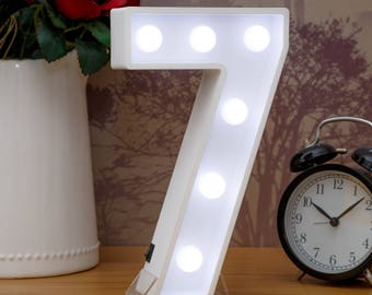 "Light Up Number 7 (Seven) - 23cm (9"") high sign, Illuminated White Wooden Marquee Letters with LED Lights Wall Hanging or Freestanding"