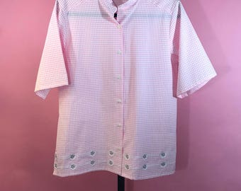 Vintage Bonsworth White and Pink Checkered Top