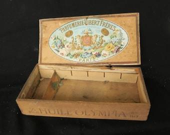 ancienne boite en bois publicitaire huile Olympia, Parfumerie Vibert Frères expositions universelles, old advertising wooden box