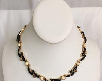 Monet Choker Necklace, Wave, Gold Tone, Black, Cream, Wood, Vintage, 1980s