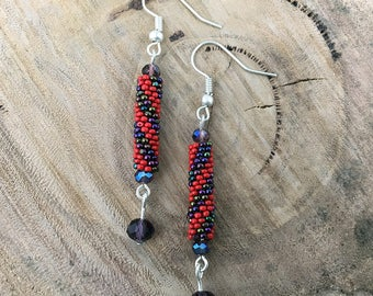 Purple metallic and red diagonal striped dangle earrings, bead woven with purple crystals and silver plated hooks