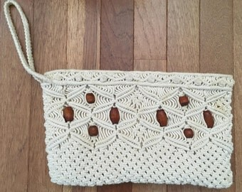 Chinese Crocheted and Beaded Clutch Handbag