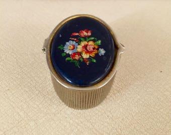Vintage Floral Pill Box
