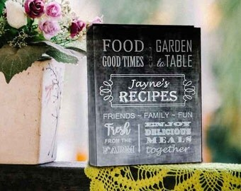 Recipe Keeper, Chalkboard Art, Cookbook, Recipe Collection, Gift for Foodie, Recipe Saver, Favorite Dishes, Kitchen Gift, Grandma's Recipes