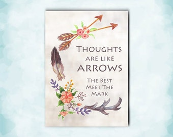 Feathers, Antler and Arrows Watercolor Art Card for Him, His Birthday, Valentine for Him, Anniversary Card, Original Art Print, Kimenink.com