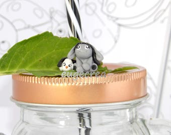 Cuddly little donkey and bird ring