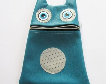 Toilet bag faux leather teal Monster