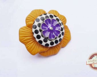 Black striped flower ring mustard and purple enamel