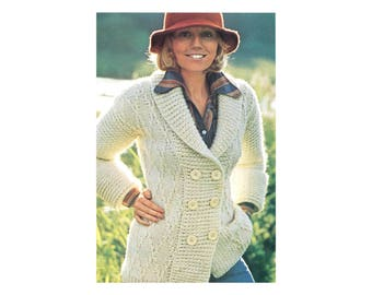 Knit Country Cardigan - Knitting Pattern - Jacket with Diamond Pattern & Ribbed Hat