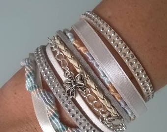 Cuff Bracelet with Magnet Clip beige/white/gray