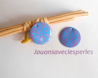 x 2 sequins blue and purple 20 mm