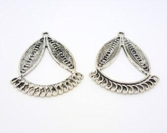 2 chandeliers - connectors - ethnic earrings - silver 44 * 33 mm (CLCA06)