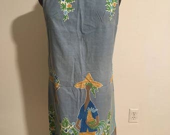 Size M Screenprinted 1960s Sleeveless Summer Dress Shift
