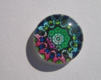 Glass cabochon round 14 mm with mandala printed image