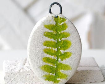 Ceramic pendant, ivory, green moss, herbaceous imprint, 1 X