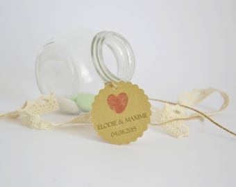 Labels custom wedding - model fingerprint heart - sweets guest - gift set of units 10/30/50/80/100/125/150