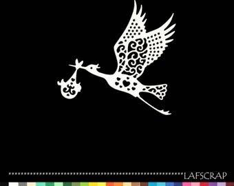 1 cut baby birth Stork cut paper decoration die cut embellishment scrapbooking