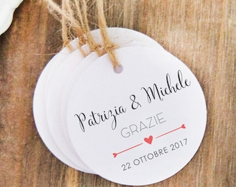 Personalised labels Thanks, 24 Labels wedding favours, Wedding, bride and groom Names Labels Tags
