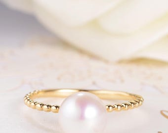 Pearl Engagement Ring Solitaire Wedding Bridal Ring Antique Beaded Birthstone Gold Minimalist Women Anniversary Birthday Promise Gift Ring