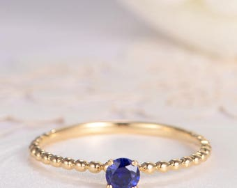 Sapphire Ring Birthstone Engagement Ring Gold Solitaire Stacking Eternity Beaded Antique Thin Mini Anniversary Promise Gift for Her Women