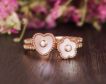Mother of Pearl Ring Set Rose Gold Engagement Ring Flower Floral Unique Bezel Set Diamond Heart Shaped Eternity Friendship Graduation Gift